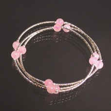 Quartz Rose - Bracelet 3 rangs en argent