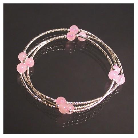 Quartz Rose - Bracelet 3 rangs en argent