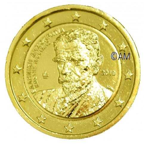 Grèce 2018 - 2 euro commémorative Kostis dorée à l'or fin 24 carats