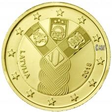 Lettonie 2018 - 2 euro commémorative Etats Baltes dorée à l'or fin 24 carats
