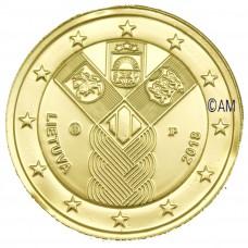 Lituanie 2018 - 2 euro commémorative Etats Baltes dorée à l'or fin 24 carats