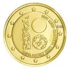 Estonie 2018 - 2 euro commémorative 100 ans dorée à l'or fin 24 carats