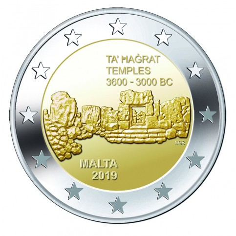 Malte 2019 - 2 euro commémorative Temple de Ta'Hagrat