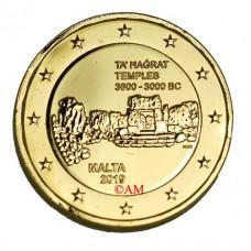 Malte 2019 - 2 euro commémorative temple Ta Hagrat dorée à l'or fin 24 carats