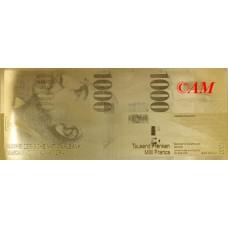 Reproduction billet 1000 Francs Suisse - Doré Or fin 24 carats