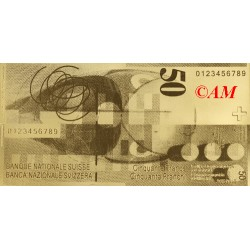 Reproduction billet 50 Francs Suisse - Doré Or fin 24 carats