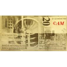 Reproduction billet 20 Francs Suisse - Doré Or fin 24 carats
