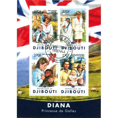 Bloc feuillet Lady Diana - Djibouti 2016