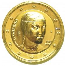 Italie 2019 - 2 euro commémorative Léonard De Vinci dorée à l'or fin 24 carats