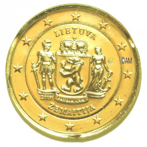 Lituanie 2019 - 2 euro commémorative Zemaitija dorée à l'or fin 24 carats