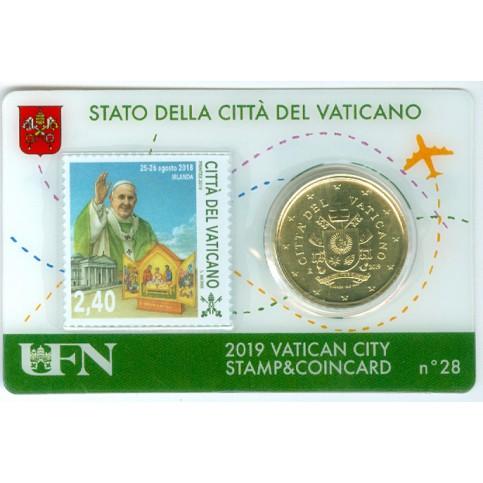 Vatican 2019 : Coincard 50 cts Pape François + timbre