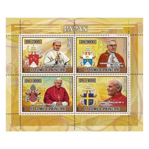 Bloc Feuillet Papes et Vatican - Saint Tomé et Principauté 2007