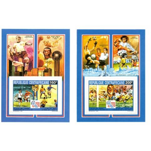 Football 2 blocs feuillets Centrafrique 1993
