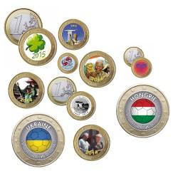 Collection de 10 monnaies 1 euro domé couleur