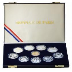 Série JO Albertville 1992 : 9 Monnaies 100 Francs Argent + 1 Monnaie 500 Francs Or