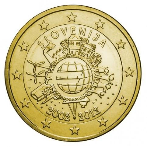 Slovénie 2012 - 2 euro commémorative 10 ans de l'euro dorée à l'or fin 24 carats