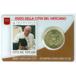 Vatican 2020 : Coincard 50 cts Pape François + timbre