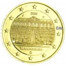Allemagne 2020 - 2 euro commémorative  Palais de Sanssouci dorée à l'or fin 24 carats