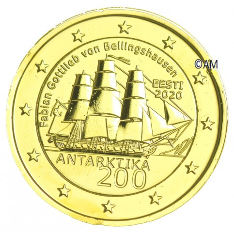 Estonie 2020 - 2 euro commémorative Antarctique dorée à l'or fin 24 carats