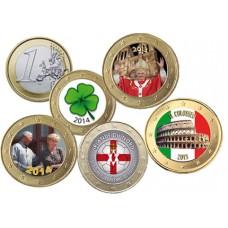 Collection de 5 monnaies 1 euro domé couleur