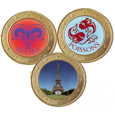 Collection de 3 monnaies 1 euro domées couleur