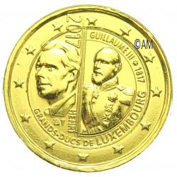 Luxembourg 2017 - 2 euro commémorative Guillaume III dorée à l'or fin 24 carats
