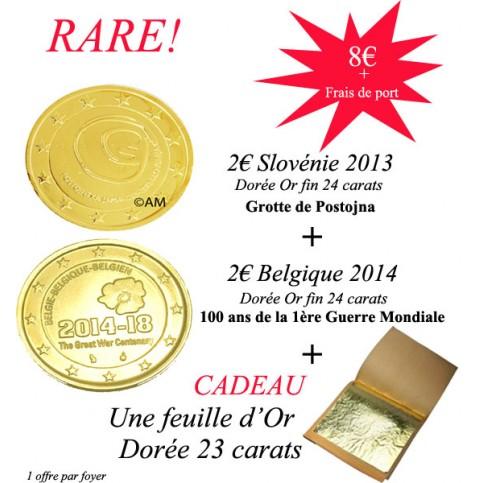 2€ Slovénie 2013 + 2€ Belgique 2014 dorées Or