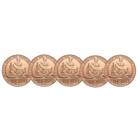 Lot 5 pièces 10 euros Vatican 2020 cuivre Michel Ange
