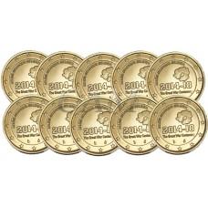 Lot x10 Belgique 2014 - 2 euro commémorative dorée à l'or fin 24 carats