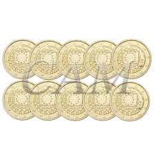 Lot x10 Finlande 2015 - 2 euro commémorative 30 ans du drapeau européen dorée or fin 24 carats