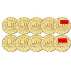 Lot x10 Lettonie 2014 - 2 euro commémorative dorée à l'or fin 24 carats
