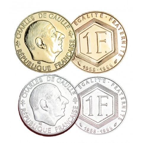 1 Franc De Gaulle + dorés or fin 24 carats
