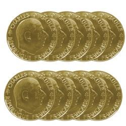 Lot de 10 pièces 1 Franc Général DeGaulle dorée OR