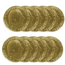 Lot de pièces 1 Franc Général de Gaulle dorée OR