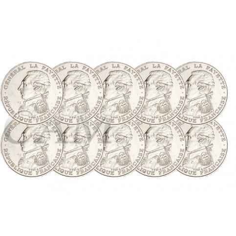 Lot de 10 pièces 100 Francs Argent La Fayette