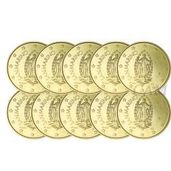 Lot de 10 pièces de 50 cts Saint Marin 2020