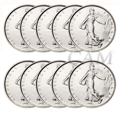 Lot x10 pièces de 5 Francs Semeuse argent
