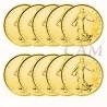 Lot x10 pièces de 5 Francs Semeuse argent dorée or fin 24 carats