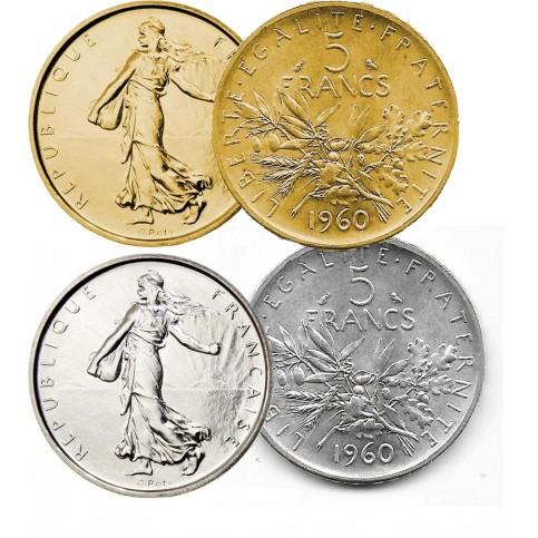 Lot 5 Francs Semeuse argent + dorée or fin 24 carats