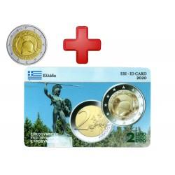 2 euros  Grèce 2020 Thermopyles + carte commémorative