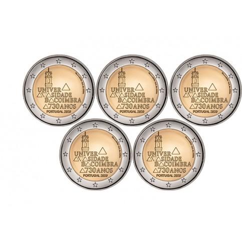 X5 pièces Portugal 2020 - 2 euro commémorative Coimbra