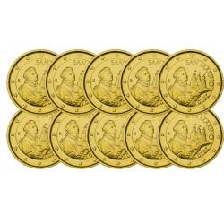 Lot de 10 pièces de Saint Marin 2020 dorées or fin 24 carats