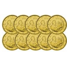 Lot de 10 pièces de 2€ Saint Marin 2020 - dorée or fin 24 carats