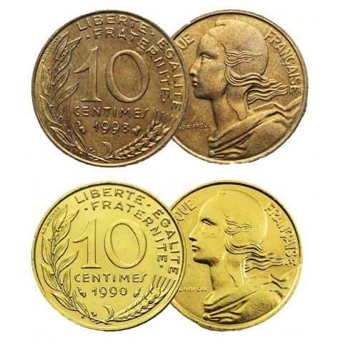 Pièce de 10 centimes la Marianne + dorée à l'or fin 24 carats