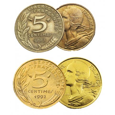 Pièce de 5 centimes la Marianne + dorée à l'or fin 24 carats