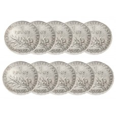 LOT DE 10 PIECES -  1 Franc Semeuse