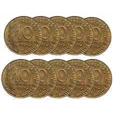 LOT DE 10 PIECES - 10 Centimes La Marianne