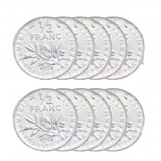 LOT DE 10 PIECES - 1 demi Franc Semeuse