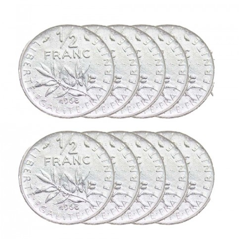 LOT DE 10 PIECES - 1 demi Franc Semeuse