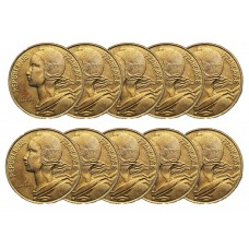 LOT DE 10 PIECES - 20 Centimes Marianne